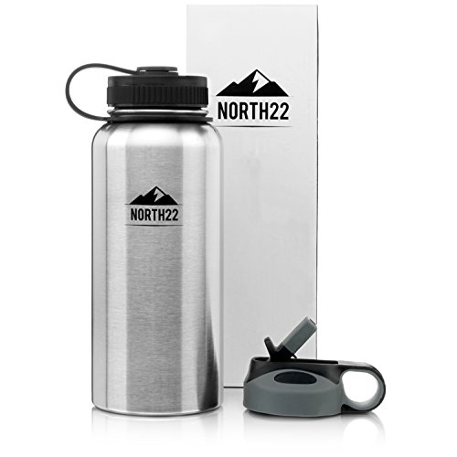 North22 Stainless Steel Vacuum Insulated Bottle 32oz, Wide Mouth With 2 Lids