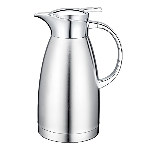 64 Oz 18/10 Stainless Steel Coffee Carafe Glass Pitcher Thermos Carafe Double Walled with press button Vacuum Carafe Insulated by Gabbay