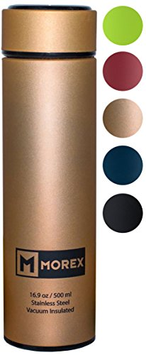 Morex - Coffee Thermos, Stainless Steel Water Bottle, Thermos Bottle, Vacuum Insulated Water Bottle, Thermos Water Bottle, FDA Approved with Tea Infuser, Capacity: 500ml or 16.9 oz, Color: Gold