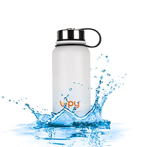 Upy Water Bottle Double Walled Vacuum Insulated Stainless Steel Cold 24 Hrs Hot 12 Hrs FDA Approved BPA Free Wide Mouth Coffee Tea Thermos with Bonuses 28oz White