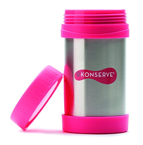 U Konserve 16-Ounce Insulated Food Jar, Neon Pink