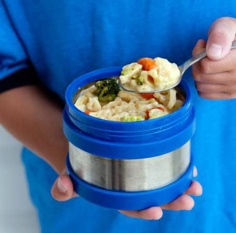 Mac and Veggies in thermos