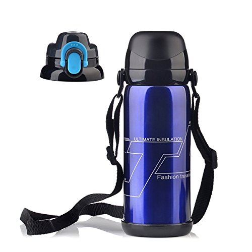 Amazing Camel Travel Mug Stainless Steel Hiking Water Bottle Climbing Flask Keep Hot Cold Thermos-27oz/800ml Blue