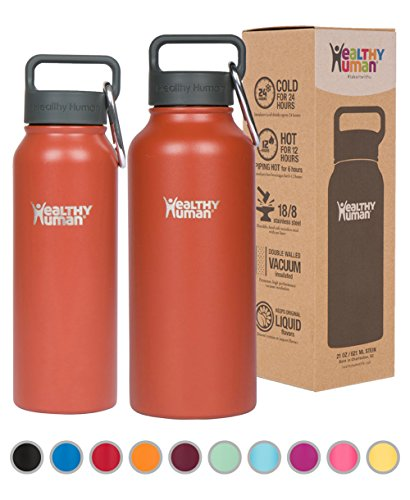 Healthy Human Water Bottle - Cold 24 Hours, Hot 12 Hours. Vacuum Insulated Stainless Steel Double Walled Thermos Flask with Carabiner & Hydro Guide - Cinnamon - 21 oz