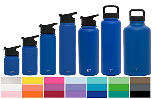 Simple Modern 18 oz Summit Water Bottle - Stainless Steel Hydro Metal Flask +2 Lids - Wide Mouth Double Wall Vacuum Insulated Reusable Twilight Small Kids Coffee Leak Proof Thermos - Blue