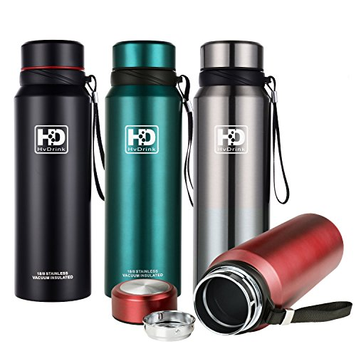 Water Bottle Insulated Stainless Steel Wide Mouth Vacuum Thermos, Built-in Filter, with Leak Proof Cap and Strap, Idea For Drinking At Home, Office, Gym, Cycling, Traveling, Camping (New Red, 27 oz)