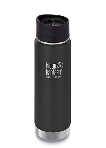 Klean Kanteen Insulated Wide Stainless Steel Coffee Mug with Café Cap 2.0, Shale Black , 16 oz
